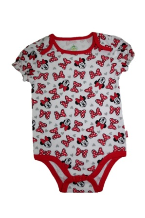 Disney Newborn Minnie Mouse Bows Print 1-Pc Single Onesie - White/Red