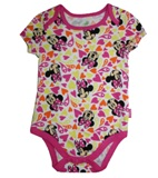 Disney Newborn Minnie Mouse Heart Print 1-Pc Single Onesie - White/Pink