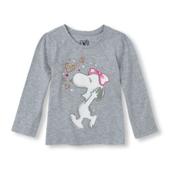 Children's Place Girls Snoopy Print L/S - Grey
