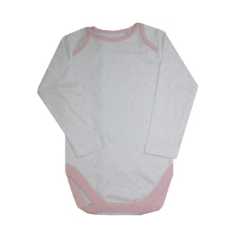 Girls Infant L/S Hearts Onesie - White/Pink
