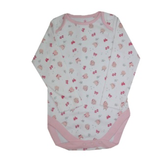 Girls Infant L/S Bows Onesie - White/Pink