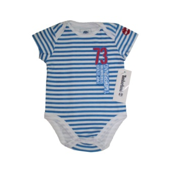 Timberland Infant Logo Striped Onesie - Blue/White