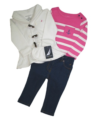 Nautica Infant Girls 3-Pc Nautical Set - White/Pink