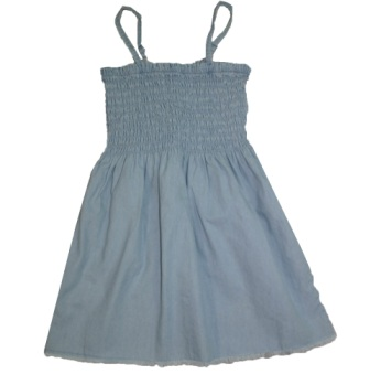 XLD Spain Girls Shirred Chambray Dress