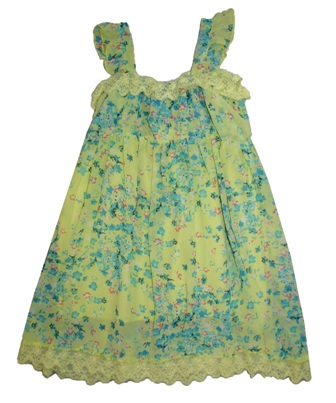 Nimble Girls' Chiffon Floral Lace Party Dress - Chartreuse