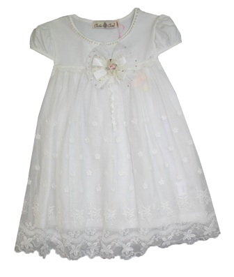 Color Creme Girls' Vintage Lace & Pearl Teddy Party Dress - White