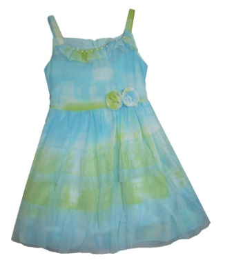 Nimble Girls Chiffon Tie Dye Effect Pearl Trim Party Dress - Aqua/Green
