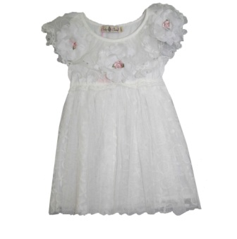 Color Creme Girls' Vintage Lace & Pearl Party Dress - White