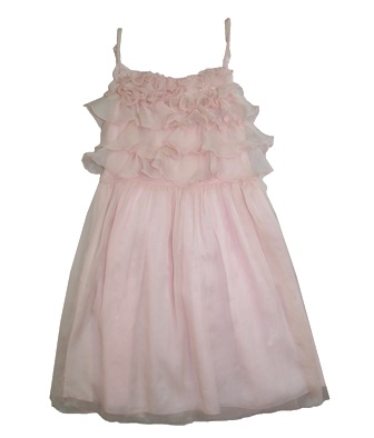 Nimble Girls Chiffon Whimsical Pearl Trim Party Dress - Dusty Pink