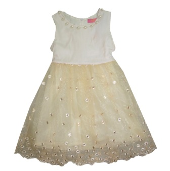 Inreer by Bonnybilly Milk Silk Sequin/Pearl Party Dress - Champagne/Gold