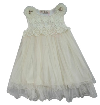 Color Creme Girls' Gatsby Vintage Lace & Pearl Party Dress - Champagne
