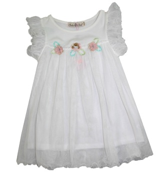 Color Creme Girls' Little Dolly Soft Gauze Party Dress - White