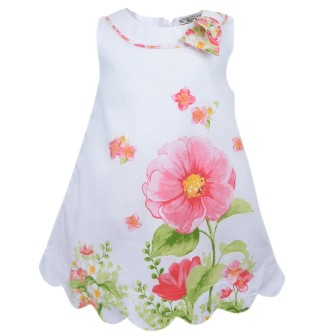 Mayoral Girls Poppy Floral Dress - White/Pink