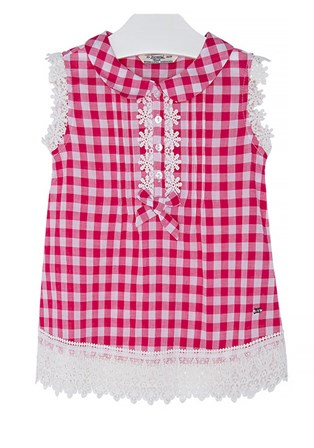 Mayoral Girls Gingham Top - Hot Pink/White