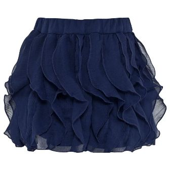 Mayoral Girls Ruffled Chiffon Skirt - Navy