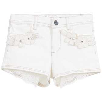 Mayoral Girls Vintage Lace  Shorts - Vanilla
