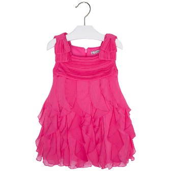 Mayoral Girls Ruffled Chiffon Dress - Hot Pink