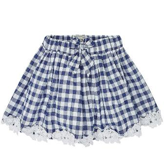 Mayoral Girls Gingham Skirt - Navy Blue/White