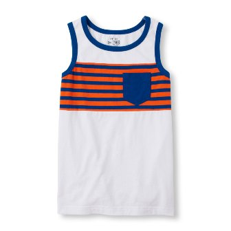 Children's Place Striped One Pocket Tank - White/Orange/Royal Blue