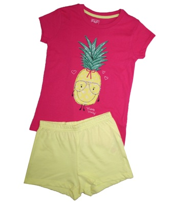 F & F Girls Pineapple Summer Pj's - Hot Pink/Yellow