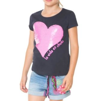 Desigual Girls Escocia Reversible Sequin Tee   - Navy