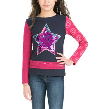 Desigual Girls Montana Reversible Sequin Star L/S   - Navy/Pink
