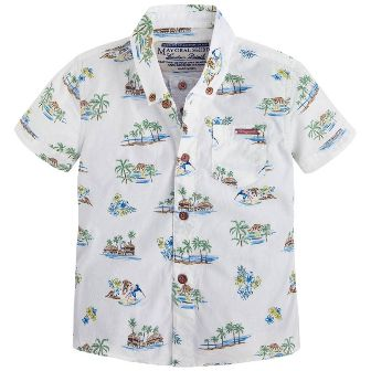 Mayoral Boys Surf Print Shirt - White
