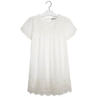 Mayoral Girls Crochet Lace/Pearl & Diamante Trim Dress  - Ivory