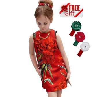 Fashion Kids Rose Jacquard Dress  - Red