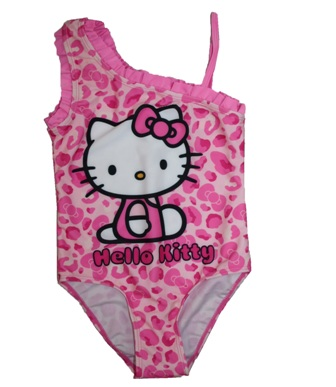 Sanrio Hello Kitty Girls One Shoulder Swimsuit -  Pink