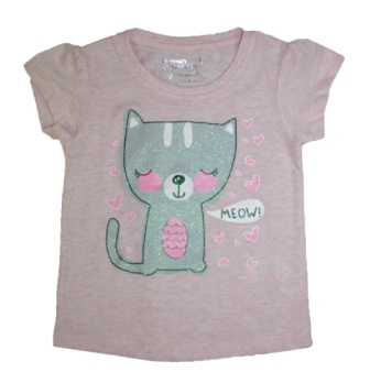 Young Dimensions UK Girls Cat Glitter Print Tee - Pink