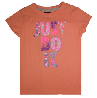 Nike Girls  Just Do It S/S Tee - Coral