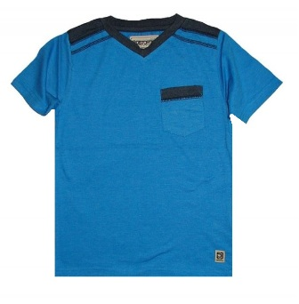 Distortion by Point Zero USA Junior Boys V-Neck One Pocket Tee - Vivid Blue