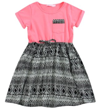 Funky Babe Junior Girls Aztec Dress  - Coral/Black