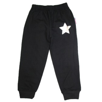 Silly Souls USA Unisex Slim Star Track Pants  - Black