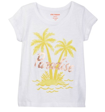 Joe Fresh USA Girls Paradise Print Tee - White