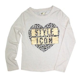 Young Dimensions UK Girls  Style Icon Gold Foil  Print L/S - Ecru