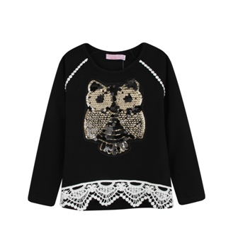 Funky Babe Junior Girls Sequin Owl/Crochet Lace Trim L/S   - Black