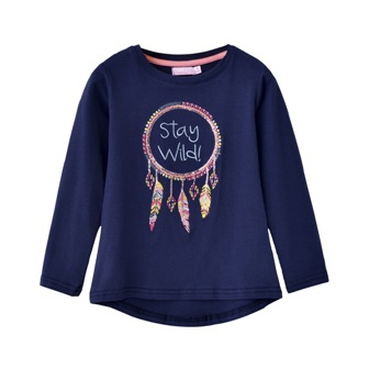 Funky Babe Junior Stay Wild Embroidered/Sequin L/S   - Navy