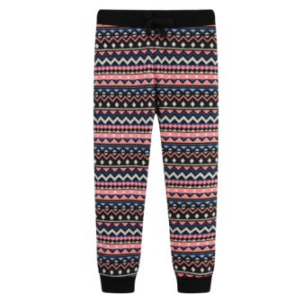 Funky Babe Junior Girls Aztec Silver Glitter Print Skinny Joggers   -  Black