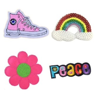 Girls 4 Pcs Peace & Love with feature Sequin Iron On Patch Set