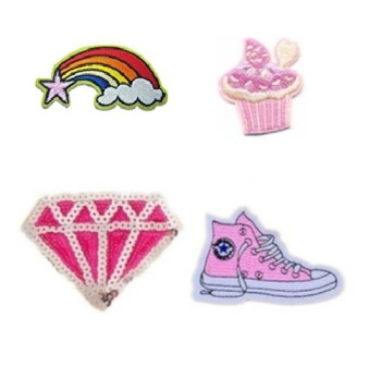 Girls 4 Pcs Cupcake with feature  Sequin Iron On Patch Set
