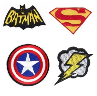 Boys 4 Pcs Superheros Iron On Patch Set