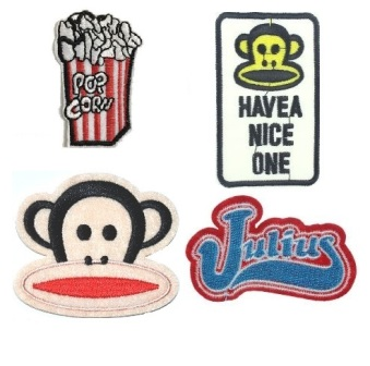 Boys 4 Pcs Paul Frank Popcorn Iron On Patch Set