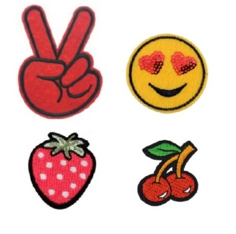 Girls 4 Pcs  Peace emoji with feature Sequin Iron On Patch Set