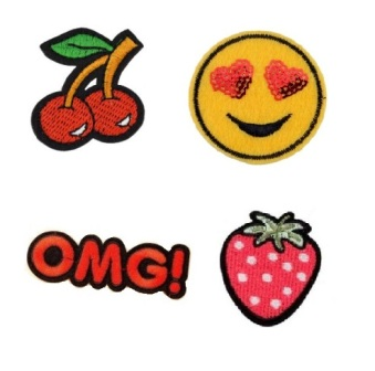 Girls 4 Pcs Omg Emoji with feature Sequin Iron On Patch Set