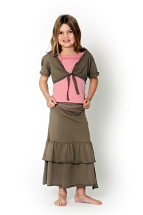 Wikidz Girl Boho Maxi Skirt - Tan