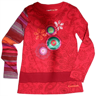 Desigual Girls Long Sleeve Sequin Retro Print Top  - Red