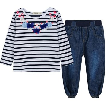 BQT Infant/Toddler Girls Flower Striped Denim Harem Pant Set - Navy/White