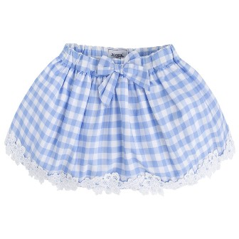 Mayoral Girls Gingham Skirt - Blue/White